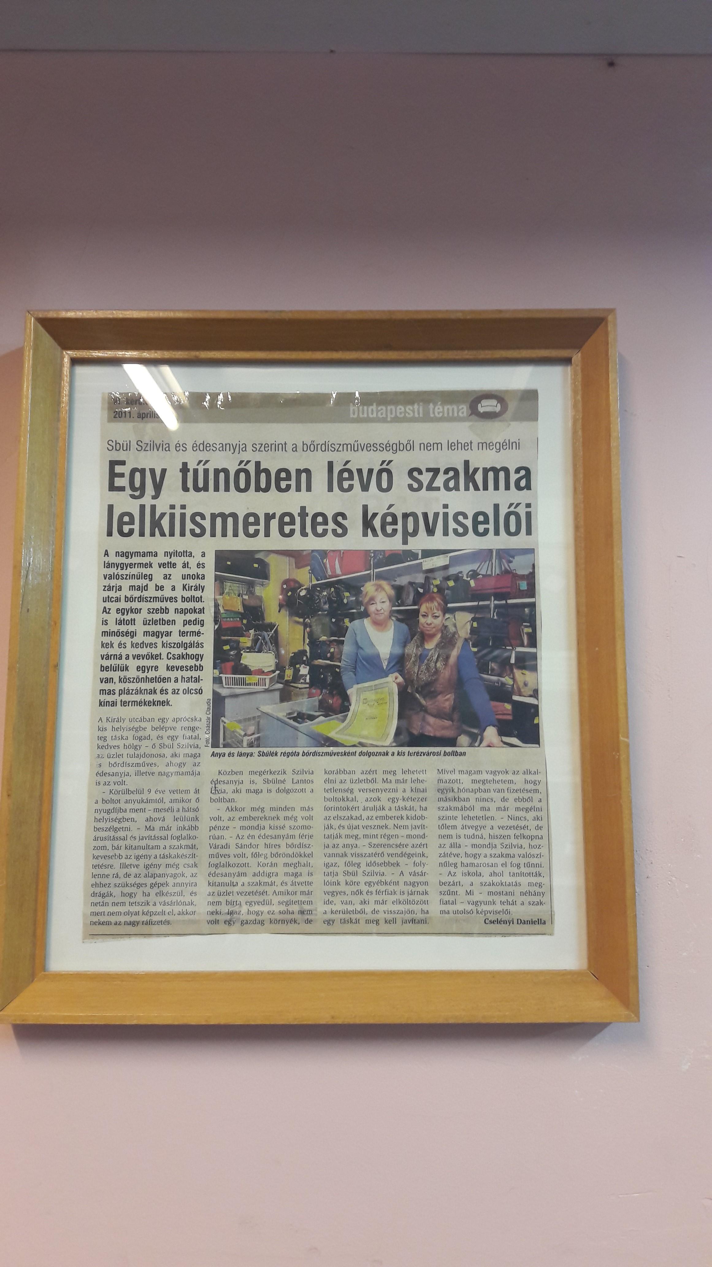 Bőrdíszmű Üzlet Budapest, Táska webshop, Táskajavítás Király utca